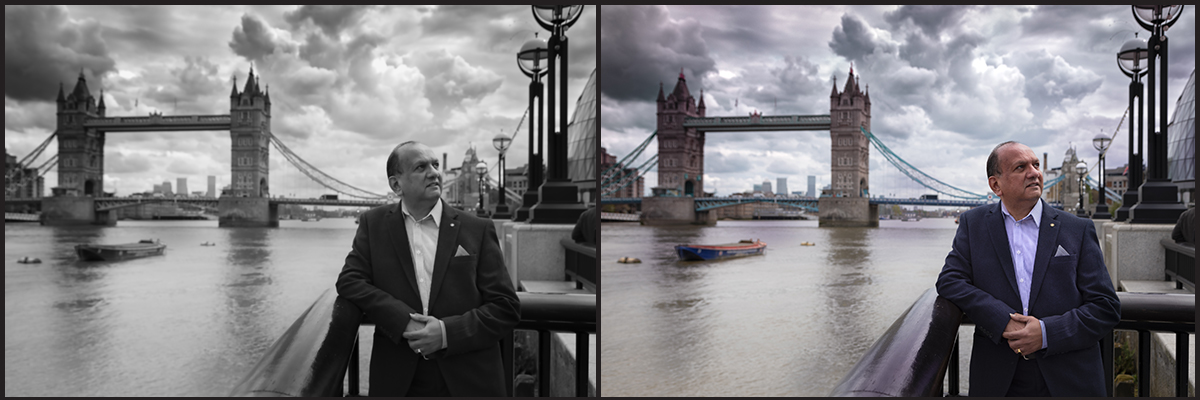 Two images side by side of a man alongside the river Thames one in Black & White the other in colour.